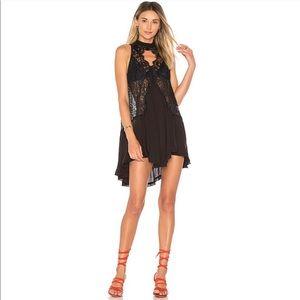 Free People Tell Tale Black Lace Boho Mini Dress M
